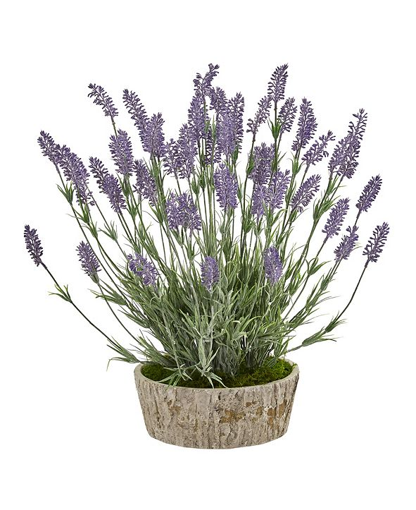 "Nearly Natural 20"" Lavender Artificial Plant in Weathered Oak Planter"