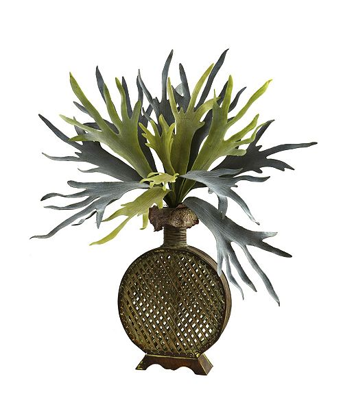 "Nearly Natural 34"" Staghorn Artificial Plant in Designer Weave Planter"