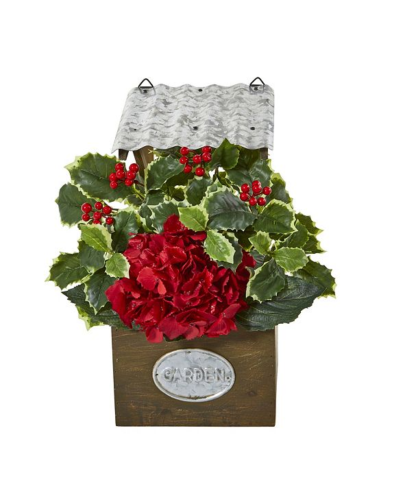 """Nearly Natural 14"""" Hydrangea and Holly Leaf Artificial Arrangement in Tin Roof Planter"""
