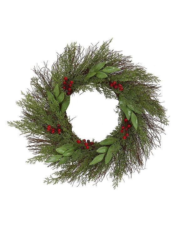 """Nearly Natural 20"""" Cedar and Ruscus with Berries Artificial Wreath"""