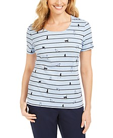 Cat-Print Striped Top, Created for Macy's