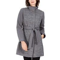 Deals on Vince Camuto Twill Wool Faux-Leather Trim Coat