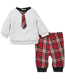 Baby Boys 2-Pc. Tie Top & Plaid Pants Set