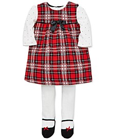 Baby Girls 3-Pc. Plaid Jumper, Dot-Print Bodysuit & Footed Tights Set