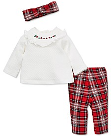 Baby Girls 3-Pc. Headband, Ruffled Top & Plaid Pants Set