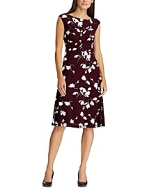 Floral Pleated Jersey Dress
