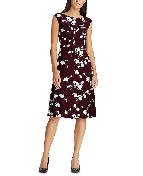 Lauren Ralph Lauren Floral Pleated Jersey Dress