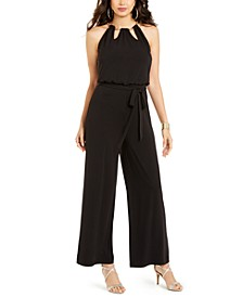 Floral-Print Chain-Neck Jumpsuit, Created for Macy's