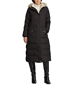 Faux-Fur-Trim Hooded Down Coat