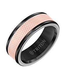 8MM Black Tungsten Carbide Ring with 14K Rose Gold Insert