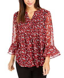 Petite Floral-Print Bell-Sleeve Top, Created For Macy's