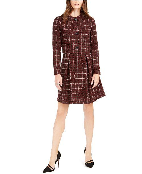 julia jordan Plaid Tweed Jacket Dress