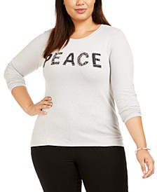 Plus Size Embellished Long-Sleeve Top, Created For Macy's