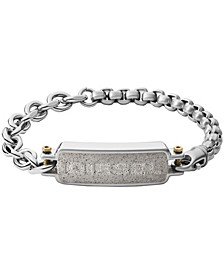 Men's Engraved Stainless Steel and Concrete ID Bracelet