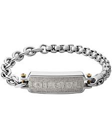Diesel Men's Engraved Stainless Steel and Concrete ID Bracelet