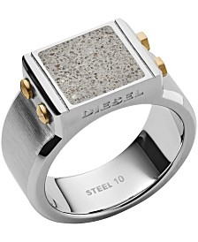 Diesel Men's Engraved Two-Tone Stainless Steel and Concrete Signet Ring