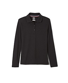 Little Girls Long Sleeve Interlock Knit Polo with Picot Collar