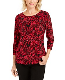 Petite Printed Jacquard Top, Created for Macys