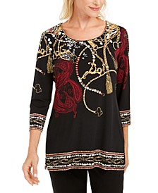 Printed Beaded Tunic, Created for Macy's