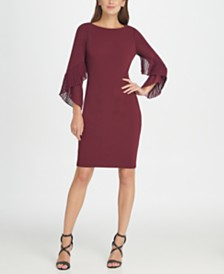 DKNY Pleated Bell-Sleeve Sheath Dress, Created for Macy's