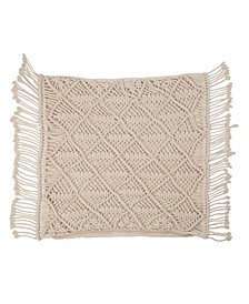 Hollow-Carved Handmade Cotton Rope Pillow Cover with Tassel