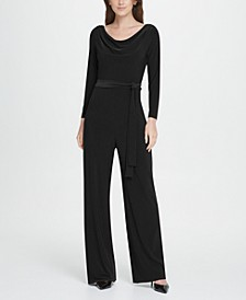 Jersey Cowl Neck Belted Jumpsuit