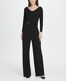 DKNY Jersey Cowl Neck Belted Jumpsuit