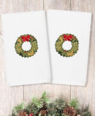 Christmas Wreath Embroidered 100% Turkish Cotton Hand Towel