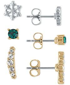 Two-Tone Winter Stud Earrings 3-Pc. Gift Set