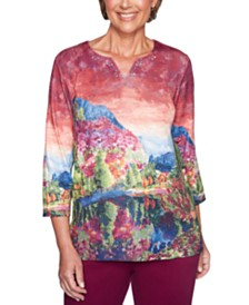 Alfred Dunner Autumn Harvest Mountain Scene Top