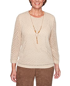 Petite Walnut Grove Open-Knit Sweater