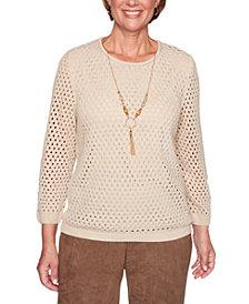 Alfred Dunner Petite Walnut Grove Open-Knit Sweater