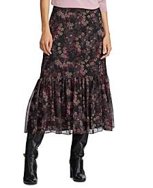 Floral-Print Georgette Skirt