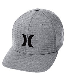 Hurley Men's Black Plaid Embroidered-Logo FlexFit Hat