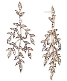 Gold-Tone Pavé Leaves Chandelier Earrings