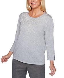 Petite Sapphire Skies Pearl-Beaded Sweater