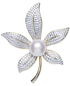 Cultured Freshwater Pearl (10mm) & Cubic Zirconia Lily Pin in Sterling Silver & 18k Gold-Plate