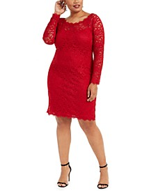 Trendy Plus Size Lace Sheath Dress