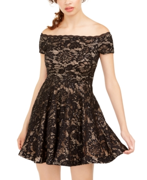 B Darlin Juniors' Off-The-Shoulder Lace Dress, Created for Macy's