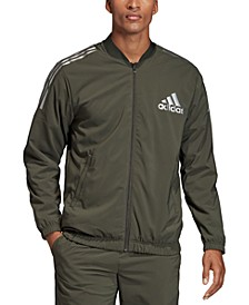 Men's Metallic Accented Track Bomber Jacket