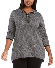 Plus Size Metallic-Knit Hoodie Sweater