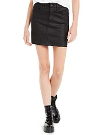 Coated Denim Mini Skirt