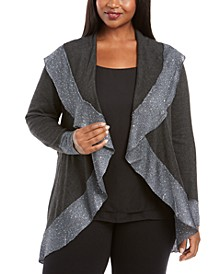Plus Size Sequin Trim Cardigan