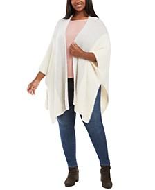 Plus Size Fuzzy-Knit Poncho