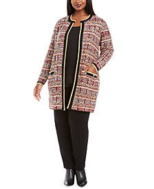 Plus Size Metallic-Threaded Open-Front Cardigan