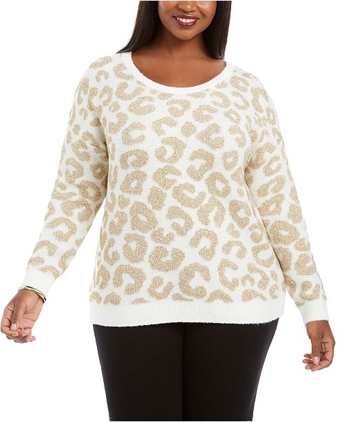 Belldini Plus Size Metallic Animal-Print Sweater