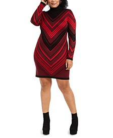 Trendy Plus Size Turtleneck Bodycon Dress