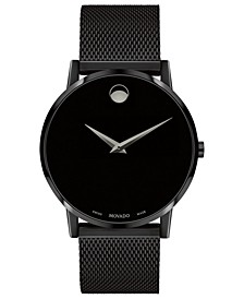Men's Swiss Museum Black PVD Mesh Bracelet Watch 40mm