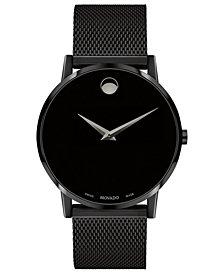 Movado Men's Swiss Museum Black PVD Mesh Bracelet Watch 40mm