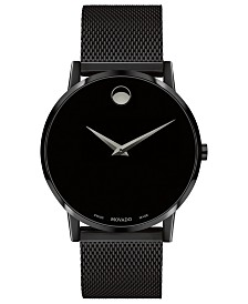 Movado Men's Swiss Museum Black PVD Mesh Bracelet Watch 40mm